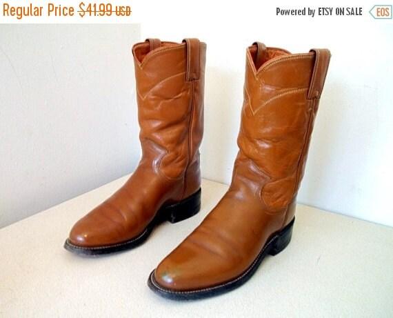 ON SALE Vintage Caramel Colored Justin brand cowboy boots size 4.5 C