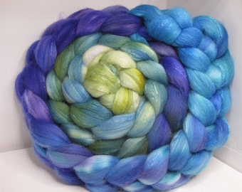 Sale Organic Polwarth/Bombyx 80/20 Roving Combed Top 5oz - Blueberry 1