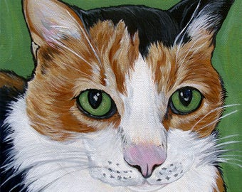 Custom Cat Portrait 6x6inch Painting Acrylic Cat Art Original Painting Gift Art Cat Portrait