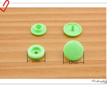 12mm KAM snaps , snap fastener , KAM snap fastener, Plastic snap fasteners Red snaps grass green 100sets  AT1X