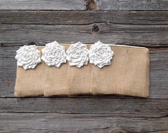 4 Wedding Clutches, Bridesmaid Gifts, Burlap Wedding Bags, Barn Wedding, Outdoor Wedding, Beach Wedding, Burlap Clutch, Ivory Bridesmaid Bag