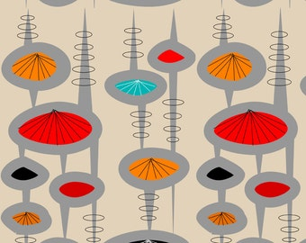 Mid Century Modern Fabric - Atomic Space Age Cream By Hot4tees Bg@Yahoo Com - Atomic Era Inspired Cotton Fabric By The Yard With Spoonflower