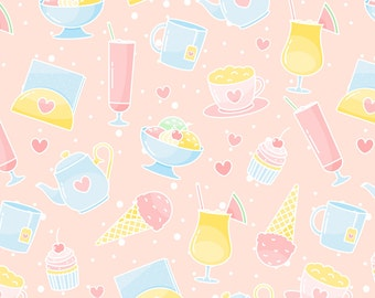 Ice Cream and Cupcake Sweet Fabric - Sweets By Innamoreva - Ice Cream Pastries Pink Cotton Fabric By The Yard With Spoonflower