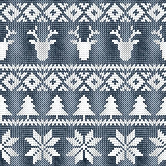 Woodland Christmas Navy Fabric - Fair Isle (Deer) Navy    Winter ...