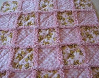 Teddy Bear Rag Blanket Baby Girl Shower Gift Crib Rag Blanket Stroller Rag Blanket Heart Love Rag Blanket Rag Quilt Blanket 35x35