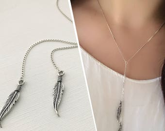 Double Feather Necklace, Sterling Silver Double Feather Y Necklace, Layering Necklaces, Boho Necklace
