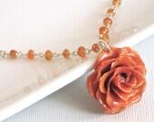 Real Orange Rose Carnelian Necklace - Sterling Silver, Tangerine