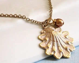 White Shell Necklace -  Ocean Jewelry, Beach Jewelry, Gold