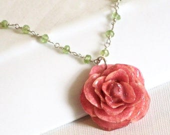 Real Pink Rose Necklace - Peridot Necklace, Sterling Silver, Real Flower Jewelry, Nature Jewelry