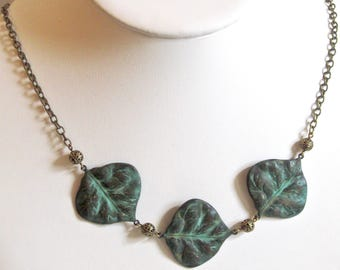 Patina Leaf Necklace - Chunky Necklace, Leaf Jewelry, Nature Jewelry, Verdigris Jewelr