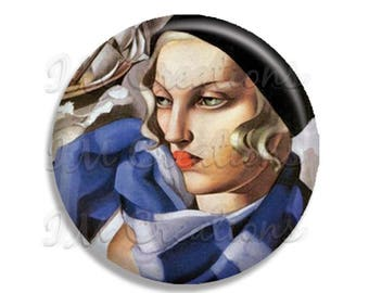 "Vintage Art Deco Lempicka The Blue Scarf Pocket Mirror, Magnet or Pinback Button - Favors - 2.25""- MR371"
