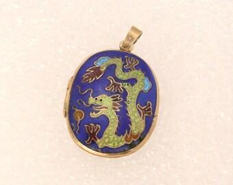 Vintage Cloisonne Dragon LOCKET Blue Green Gold Finish Cloisonne Pendant Necklace Charm