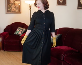 Vintage 1950s Dress - Sophisticated Black Wool Jersey Shirtwaist 50s Day Dress with Full Pleated Skirt