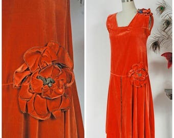 Vintage 1920s Dress - Exceptional Orange Velvet 20s Flapper Dress with Drop Waist and Large Two Tone Rosettes
