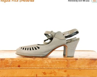 SALE - Vintage 1940s Shoes  - Dove Grey Suede Peeptoes with Cutaway Vamp  with Detailed Ankle Strap Size 10 N
