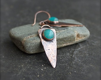 ON SALE Amazonite Arrowhead Earrings - Turquoise Gemstone Dangle, Hammered Copper, Oxidized Patina, Rustic Bohemian Jewellery