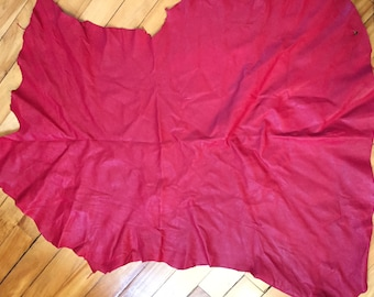 Gorgeous soft lambskin leather in Lipstick red - a full 4.5 plus square foot hide