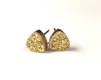 Bright Gold 8mm Triangle Druzy Drusy Post Stud Earrings with Hypoallergenic Nickel Free Titanium Posts