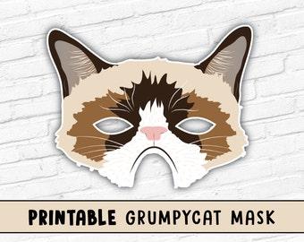 Grumpy Cat Printable Mask | Photo Booth Prop | Grumpy Cat | Printable Mask