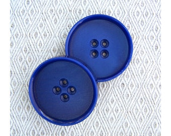 Large Cobalt Buttons, 36mm 1 3/8 inch - Big Pair of Dark Blue Sewing Buttons - 2 VTG NOS Chunky Deep Blue Plastic Sew Through Buttons PL628