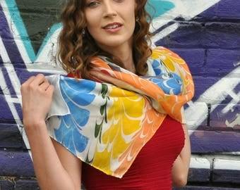 Hand Painted Rainbow Silk Scarf Fashion Rainbow Pride Asheville, NC MM-#LE-Rb16