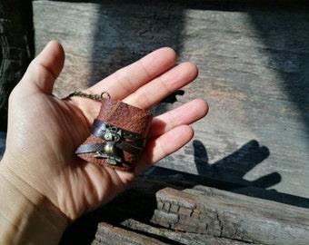 S.A.L.E 50%MiniBook Necklace Owl & Rustic tan leather
