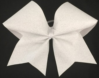 Custom Cheerleader White Glitter Cheer Hair Bow