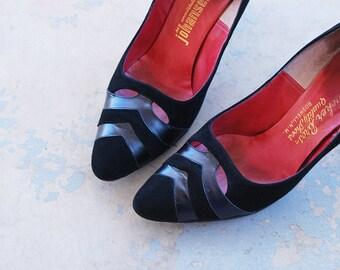 vintage 50s High Heels - Black Suede Leather Stilettos 1950s Shoes Sz 8 39