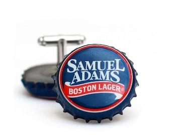 Blue Sam Adams Beer Bottle Cap Cufflinks Cuff Links