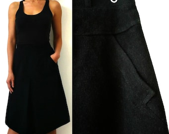 French Vintage Black Wool A line Skirt