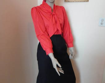 Vintage Black Wool Pencil Skirt With Pockets Sz 8