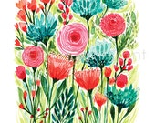 watercolor flowers/ aqua and coral/ watercolor wall art/ watercolor wall decor/ botanical wall decor/ coral flowers