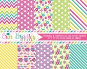 60% OFF SALE Tea Party Digital Paper Pack Girls Pink Purple Teal Blue Green & Yellow Digital Papers Stripes Flowers Chevron Instant Download
