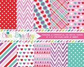 60% OFF SALE Purple Love Valentines Day Digital Paper Pack Hearts Chevron Striped Plaid Polka Dot and Doodle Patterns in Red Pink Blue & Pur