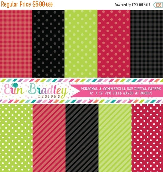 70% OFF SALE Digital Scrapbook Papers Personal and Commercial Use Red Black Green Ladybug Picnic