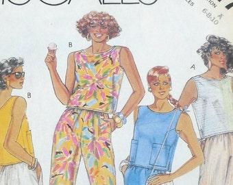McCall's 3117 - Fun Vintage 1980s Summer Separates - Tank, Top, Pants, Skirt, Shorts, Etc. - Size 6 - 8 - 10 - Bust 30 31 32 - Juniors UNCUT