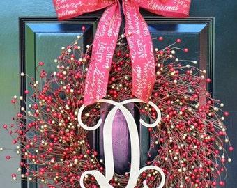CHRISTMAS WREATH SALE Winter Berry Wreath- Winter Wreath- Wedding Wreath- Door Wreath- Christmas Wreath- Red and Gold Christmas- Winter Deco