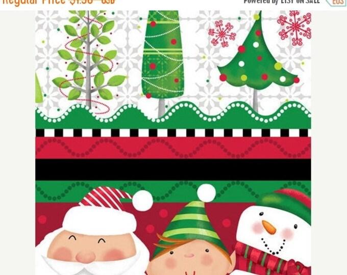 On Sale Holiday Christmas Santa fabric Holly Jollies Decorative Stripe Holiday  Santa Fabric by Quilting Treasures
