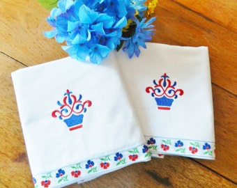 White Pillowcases, Red Pillowcases, Never Used Pillowcases, NOS Pillowcases, Blue Pillowcases, Machine Embroidered