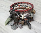 Silk Road Bangle Stack - Muted Colors - 7 Piece Bohemian Bracelet Set, Gypsy Tribal, Silk Wrapped