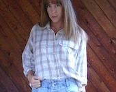 extra 25% off SALE ... Off White Plaid FLANNEL Button Down Shirt - womens - Vintage 90s - MEDIUM M