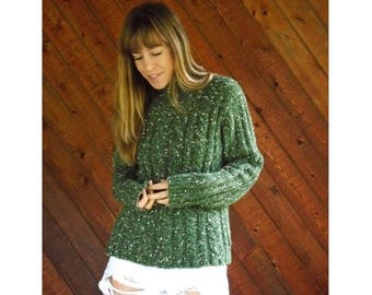 extra 30% off sale . . . Green Knit Chunky Speckled Turtleneck Sweater - Vintage 90s - S/M