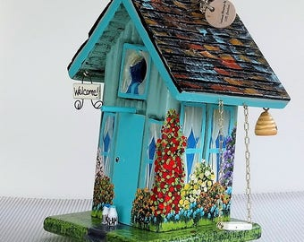 Wacky , Unique Leaning Birdhouse , Spring Green and Turquoise , with Swing , Sign , Milk Bottles , Beehive and Easy Clean Out