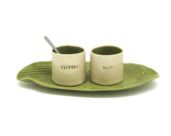 whimsical hand built porcelain salt and pepper cellars sitting on a tray   ...   kiwi green