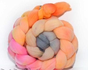 GARDEN CLUB - Hand Dyed Domestic Targhee Hand Painted Combed Top Wool Roving Spinning Felting fiber - 4.1 oz