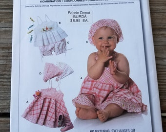 UNCUT Burda 9584 Sewing Pattern Babies Toddlers Dress Top Panties & Bandana Hat Headband In Sizes 6m - 3T With Factory Folds