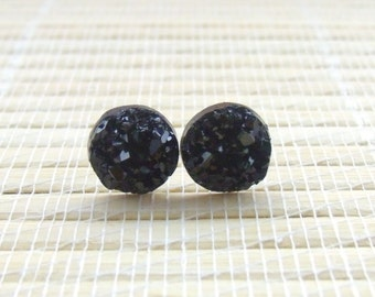 Black Druzy Faux Studs Gold Plated 10mm