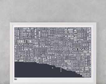 Brighton Map, Brighton Type Map, Brighton Word Map, Brighton Font Map, Brighton Text Map, Gift, Brighton Artwork, Brighton Screen Print