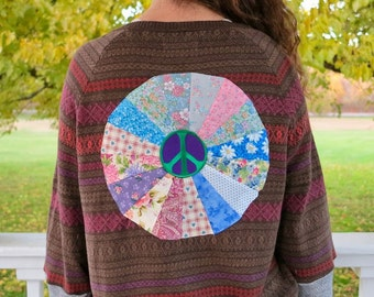 Peace Sign Patchwork Embroidered Eco Chic Bohemian Hippie Upcycled Fair Isle Print Cardigan Sweatshirt Sweater Size XL Festival
