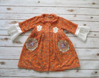 4 Years Girls Toddler Corduroy Easter Spring Upcycled Lace Crochet Bell Sleeve Dress Pinafore